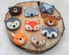 Woodland animals Forest animals Felt animals Woodland plush Woodland cake topper Woodland nursery fox raccoon wolf bear christmas decoration