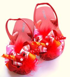 boutique FUNKY FUN elmo bow flip flops by andjane on Etsy, $22.99