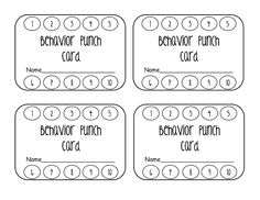 Good Behavior Punch Cards | Behavior punch cards and Free printable