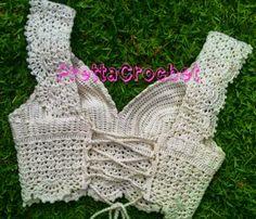 tops a crochet paso a paso ile ilgili görsel sonucu Top Crop Tejido En Crochet, Tops A Crochet, Crochet Summer Tops, Crochet Round, Bikinis Crochet, Crochet Bra, Filet Crochet, Crochet Clothes, Crop Top Pattern