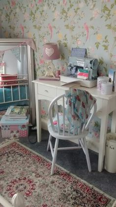 My calm spot. Super cosy. Laura ashley summer palace wallpaper.