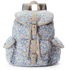 Candie's Abigail Floral Ditsy Backpack (Blue) ($36) ❤ liked on Polyvore featuring bags, backpacks, blue, flower print backpack, floral rucksack, blue floral backpack, floral bag and pocket backpack