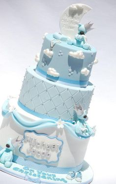 Blue Christening - Cake by Lesley Wright