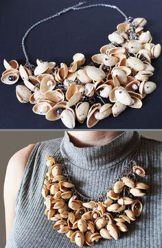 How to Make Necklace DIY Jewelry Jak Zrobić Naszyjnik Biżuteria Tutorial Necklace made of pistachio shells. Have fun watching and creating (*^^*) Diy Jewelry Tutorials, Jewelry Crafts, Jewelry Box, Pistachio Shells, Arts And Crafts, Diy Crafts, How To Make Necklaces, Shell Crafts, Shell Necklaces