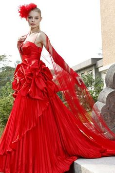 Red Spaghetti Ruffled Chiffon Prom Dress     $270.99 Designer Dresses