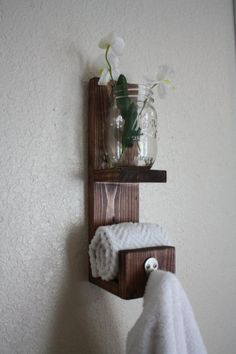 Bathroom towel hook with Mason Jar for flowers candle by AlderLane, $14.00