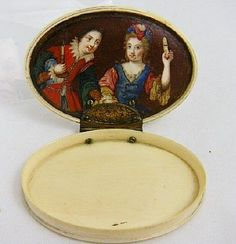 1725 Continental IVORY PIQUE Patch Snuff Box w/ Miniature Portrait. The center of the box opens for an area for snuff and the most amazing of paintings.