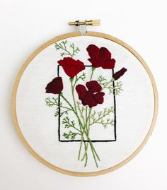 Red geometric poppy floral flowers 5 inch embroidery hoop wall decor (24.00 USD) by YesStitchYes