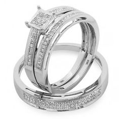 0.20 Carat (ctw) 10k White Gold Round Diamond Ladies & Mens His Hers Bridal Engagement Ring Trio Set Band 1/5 CT - http://www.wonderfulworldofjewelry.com/jewelry/wedding-anniversary/bridal-sets/020-carat-ctw-10k-white-gold-round-diamond-ladies-mens-his-hers-bridal-engagement-ring-trio-set-band-15-ct-com/ - Your First Choice for Jewelry and Jewellery Accessories
