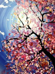 Paint Nite Spring Blossoms painting
