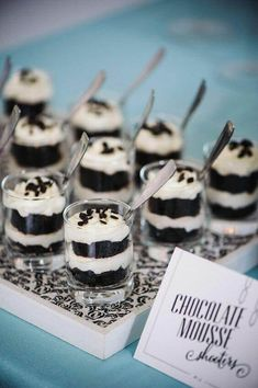 Wedding Food Black and white dessert ideas -chocolate mousse. - Modern Antiquity Wedding Ideas photographed by Athena Blude Photography with event design by William Parkinson Events Black White Parties, Black And White Theme, Black And White Party Decorations, Black Party, Black And White Cupcakes, Black Accents, White Bridal Shower, White Baby Showers, Bridal Showers