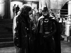 Behind the scenes shot of Michael Keaton, as Batman with director Tim Burton.