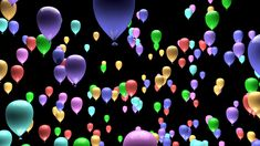 4K Pastel Color Party Balloons Ascending with Matte 3D Animation - Stock Footage   by boscorelli