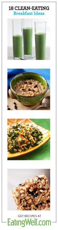 Try these tasty clean breakfasts like our homemade granolas, smoothies and oatmeals. #eatcleanpinparty