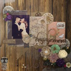 An Engagement by Alice Scraps Wonderland.  Uses elements from Prima's Something Blue collection as well as burlap and metal embellishments!
