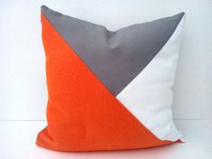 Throw Pillow, Geometric Modern Home Accent, Orange, White and Grey Decor on Etsy, $33.00