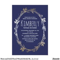 Navy and Gold Floral Wreath Bridal Shower