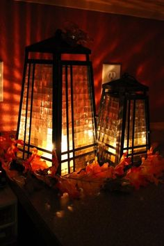 Herbst-Deko leuchtend Glaseinsatz-Beleuchtung modern Design Räume