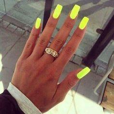 girl, nails, neon, ring, yellow