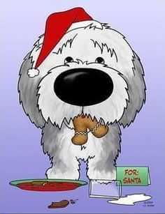 Old English Sheepdog trying to get away with eating all of Santa's cookies. Sheepdog is wearing a Santa Hat, with ginger bread man in his mouth and inside of card reads, Ho. Beautiful Dogs, Animals Beautiful, Cute Animals, Chien Bobtail, Pallet Painting, Rock Painting, Bearded Collie, Old English Sheepdog, Dog Crafts