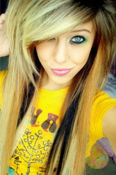 girls long hair color | Emo Girl Hairstyles for Long Hair and Bangs Images