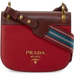 Prada Pionnière Web-Strap Shoulder Bag, Red (Rubino/Granato) Diese und weitere Taschen auf www. My Bags, Tote Bags, Purses And Bags, Women's Crossbody Purse, Leather Crossbody, Prada Bag, Prada Handbags, Fall Handbags, Prada Shoes