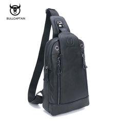 e390c86ed6 Bullcaptain Genuine Leather Theftproof Magnetic Button Open Leather Mens  Chest Bags Fashion Travel Crossbody Bag Man