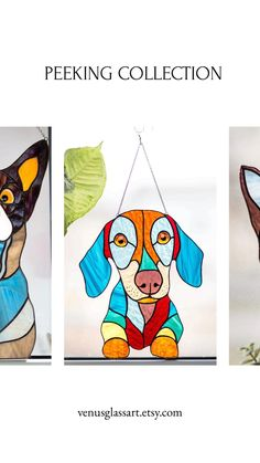 Our beautiful window hangings from glass. Unique gifts for dog lovers Stained Glass Studio, Modern Stained Glass, Making Stained Glass, Custom Stained Glass, Stained Glass Suncatchers, Stained Glass Flowers, Faux Stained Glass, Stained Glass Designs, Stained Glass Projects