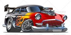 Buy Vector Cartoon Retro Hotrod by Mechanik on GraphicRiver. Available and EPS vector formats separated by groups and layers for easy edit. More vector cartoon illustration. Rat Fink, Cool Car Drawings, Truck Detailing, Image Clipart, Car Vector, Vector Art, Retro Cartoons, Garage Art, Car Posters