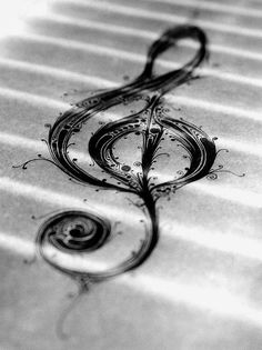treble clef pen and ink