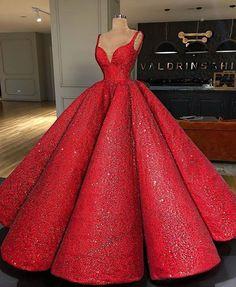 Luxus Rot Super A-Linie Langes Abendkleid V-Ausschnitt Abendkleid Hochzeitskleid Sequin Prom Dresses, Ball Gown Dresses, Pageant Dresses, 15 Dresses, Pretty Dresses, Homecoming Dresses, Fashion Dresses, Quinceanera Dresses, Formal Dresses