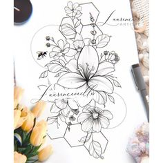 Bee And Flower Tattoo, Tropical Flower Tattoos, Lily Flower Tattoos, Flower Tattoo Shoulder, Feminine Tattoo Sleeves, Feminine Tattoos, Feminine Shoulder Tattoos, Flor Tattoo, Hawaiianisches Tattoo