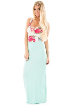 Lime Lush Boutique - Mint Sleeveless Maxi Dress with Floral Printed Contrast, $19.95 (https://www.limelush.com/mint-sleeveless-maxi-dress-with-floral-printed-contrast/)