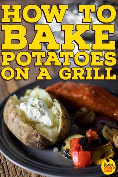 How to Bake Potatoes on a Grill Recipe - The Black Peppercorn - Easy instructions for how to cook a potato on a BBQ gas grill. Wrapping russet potatoes in foil and baking on a grill results in the best fluffy potatoes. Grilled Baked Potatoes, Smoked Potatoes, Cooking Baked Potatoes, Bbq Potatoes, How To Cook Potatoes, Grilled Steak Recipes, Grilling Recipes, Cooking Recipes, What's Cooking