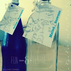"Remember these? ""Melted Snowman"" reusing #glass #bottles #ecochic water bottles #christmas"