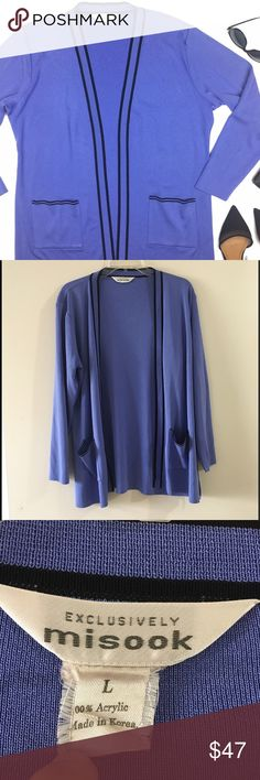 Exclusively Misook Purple Acrylic Open Cardigan Super elegant open cardigan that comes with black trims, side slits, long sleeves and two front pockets. Barely noticeable marking right cuff. 100% acrylic. Misook Sweaters Cardigans