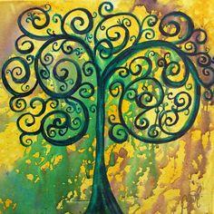 Tree Of Life - Yellow Green Painting  - Tree Of Life - Yellow Green Fine Art Print