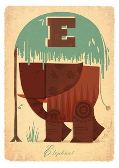 E(lephant) by Graham Carter at boxbird gallery. Limited edition print for sale. Www.boxbird.co.uk
