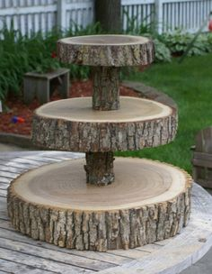 A simple and beautiful snack and cake stand for in the garden for the birds! http://www.etsy.com/listing/54625385/3-tier-tree-slice-large-cupcake-stand