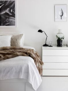 Love that faux fur draped across the bed