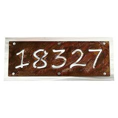"""Rustic Metal Address Number Sign, Horizontal Wall Plaque House Number. Rustic house number address signs are highly visible and a beautiful addition to your front door! Sure to catch attention, you'll never have to worry about guests finding your address number again. Shiny aluminum backing plate is polished for an eye-catching reflection in any light. Makes a great house warming gift! Choose from 5 text styles as shown in final photo. House number sign itself is 15, 20 or 25"""" wide and…"""
