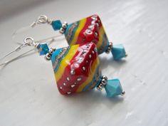 Lampwork Silver Earrings Southwest Style Red Blue via Etsy.