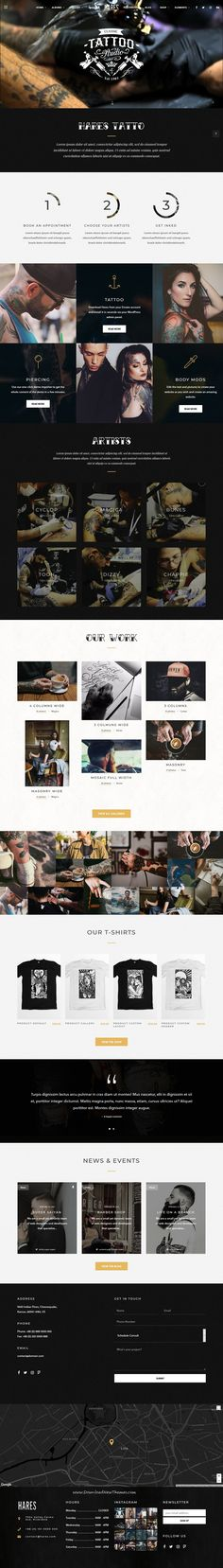 Buy Hares - A Stylish WordPress Theme by Wolf-Themes on ThemeForest. Hares is a vintage and stylish WordPress theme for your tattoo salon, barbershop, pub, restaurant, motorcycle club e. Tattoo Salon, Tattoo Studio, Tattoo Website, Professional Website, Web Layout, Barber Shop, Wordpress Theme, Layouts, Modern Design