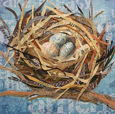 Susan Schenk, collage artist - Fargo Eggs in a Nest Paper Collage Art, Collage Art Mixed Media, Collage Artists, Altered Books, Altered Art, Newspaper Art, Landscape Quilts, Assemblage Art, Art Plastique