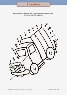 belajar membaca A-Z untuk anak, permainan PAUD (balita/TK), menghubungkan titik, gambar truk