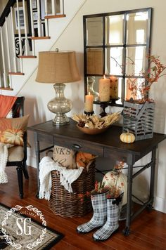 Fall foyer vignette from Stonegable
