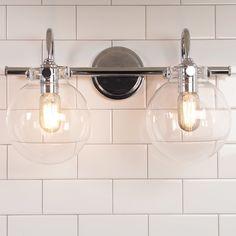 Retro Glass Globe Bath Light - 2 Light chrome
