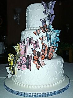 #wedding #butterflies #lindascreations Butterflies, Wedding Cakes, Desserts, Food, Wedding Gown Cakes, Tailgate Desserts, Deserts, Wedding Cake, Butterfly