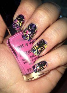 Multi colored stamping mani