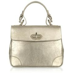 ralph lauren silver handbag | Ralph Lauren Collection Small Tiffin - Silver Leather Bag - Polyvore